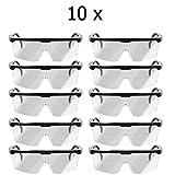 10 x Oramics Arbeits-Schutzbrille Laborbrille UV-Schutz Über-Brille bruchfest mit verstellbarem Bügel, transparente Schutzbrille
