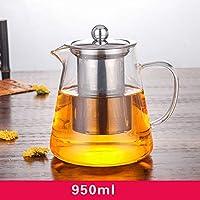 WTING Tetera de Cristal, 450 ml, 550 ml, 750 ml, 950 ml Tetera con Infusor, borosilicato extraíble té del Acero Inoxidable Kettle té de Hojas Sueltas y té floreciente,950ml