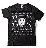 Silk Road Tees Witzige Männer-politischer T-Shirt Kim Jong Boom Rocket Man Weihnachten lustige T-Shirt Large Schwarz