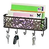 iDesign Vine Wandaufbewahrung, für Post und Schlüssel, Ablagesystem mit Briefkorb und Schlüsselbrett aus Metall, bronzefarben