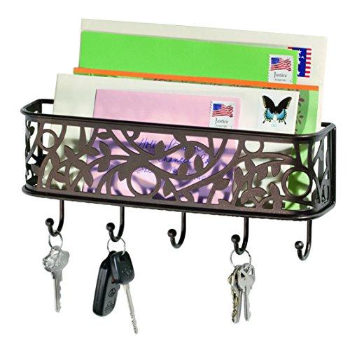 iDesign Vine Schlüsselbrett mit Ablage, kleine Hakenleiste mit 5 Haken für Schlüssel, dekorative Briefablage aus Metall für Post und Notizen, bronzefarben