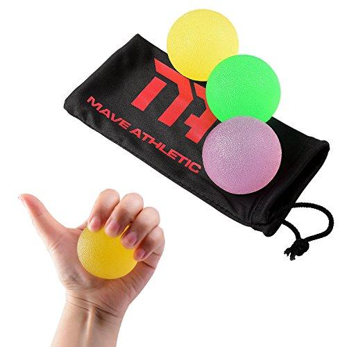 MAVE ATHLETIC ® - 3 Stk. PREMIUM Handtrainer / Unterarmtrainer / Fingertrainer / Handmuskeltrainer Griffbälle zur Stärkung der Handmuskulatur inkl. kostenlosem Aufbewahrungsbeutel (3 Griffbälle)