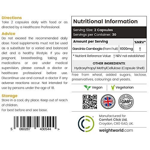 Garcinia Cambogia Pure Kapseln 1000mg – 100% Natürlicher Extrakt Aus Der Garcinia Frucht Zum Abnehmen – Effektiver Appetitzügler Und Fatburner Für Männer Und Frauen | Organische Diätpillen
