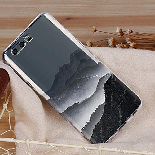 Huawei Honor 9 (5,15 zoll) Schutz Hülle Case in wunderschönem Design Weiches transparentes TPU Landschaft Handyhülle Mountain Berg und Sonne Wolken und Alpen mit Schnee Handy Etui mit Motiv Gel Bumper Pattern 07