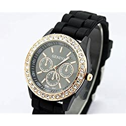Liroyal Ladies brand GENEVA Watch Classic Gel Crystal Silicone Jelly watch