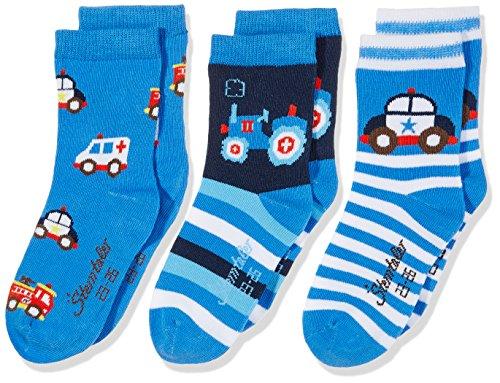 Sterntaler Jungen Socken Söckchen 3er Pack Fahrzeuge, Blau (Enzian 377), 30