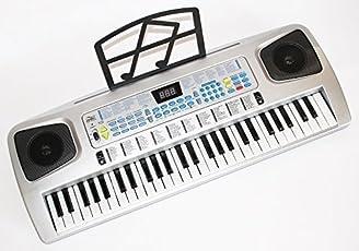 Sky 0754235506546 Tastatur und Piano für Kinder 54 Tasten mit Mikrofon, Netzteil, Notenauflage silber