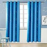 BGment Vorhänge Blickdicht Sterne mit Ösen Gardine Thermo isoliert für Baby, Kinderzimmer,Blau Verdunkelungsvorhänge 1 Paar (H 175 X B 140cm,Blau)