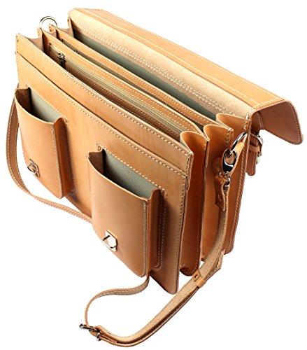 Lehrertasche Aktentasche Leder Model Texas Beige