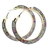 Netzoptik Ohrringe Ausgefallene Creolen aus Nylon Netzschlauch mit bunten Kristallen gefüllt in verschiedenen Farben Modeschmuck Schmuck von der Marke MyBeautyworld24 (bunt)