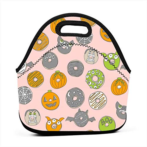 Clothes socks Portable Bento Lunch Bag,Halloween Donuts Fall Autumn Food Cute Spooky Scary Halloween Design by Andrea Lauren - Pink for Kids Adult Thermal Insulated Tote Bags (Für Halloween Snacks Fun Kid)