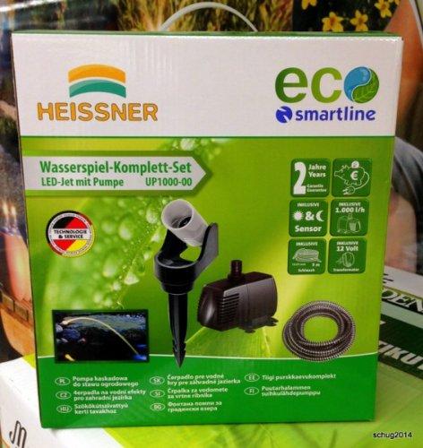 12V Wasserspielpumpe Heissner UP1000 LED Wasserspiel Speier komplett Set Inkl