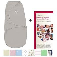 SwaddleMe Neugeborenes/Baumwolle/grau - Ganzkörper-Pucksack ist ideal bei Schreibabys. Small.Mit 28-seitiger deutscher Puckbroschüre!