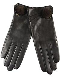 ELMA Damen Nappa Leder Handschuhe Futter Reines Kaschmir Vergoldet Logo Nerz (7.5, Braun)