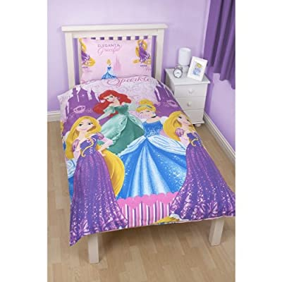 Girls Disney Princess Sparkle Reversible Single Duvet/Quilt Cover Bedding Set - cheap UK light store.