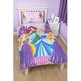 Girls Disney Princess Sparkle Reversible Single Duvet/Quilt Cover Bedding Set (Single Bed) (Pink/Blue)