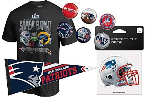 New England Patriots NFL Super Bowl 2019 Fan-Set, T-Shirt, Wimpel, Aufkleber und Buttons (M) (Patriots T-shirts Super Bowl)