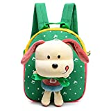 Comfysail Polka Dot Printed Canvas Kids Backpack with 3D Detachable Lovely Puppy Doll Plush Toy - Best Gift for Under 5 years old Nursery Toddler Baby Boys Girls Daily Use (Green)