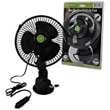 12V DC Car Interior Cooling Fan Oscillating Suction Cup Mount Van Caravan Cooler