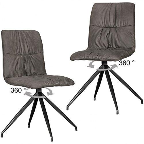 Set di 2 sedie design sala HERRY in stile retrò sedie imbottite ...