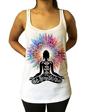 Irony Jersey Top Namaste Buda Flores Explosión de Color Yoga Meditación Imprimir JTK1317