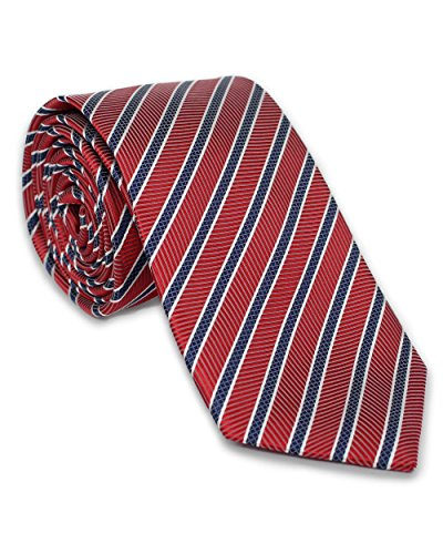 Krawatte aus 100% Seide | Rot Weiß Blau Streifen | Handgefertigt in Italien | Für Hochzeit | Seidenkrawatte gestreift für Business Anzug oder Hemd (Repp-stripe - Herren)