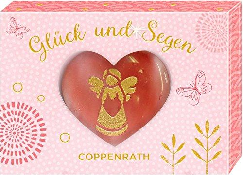 Edelstein mit Gravur – Glück und Segen – Schutzengel: Handschmeichler in Herzform (Kirschquarz)