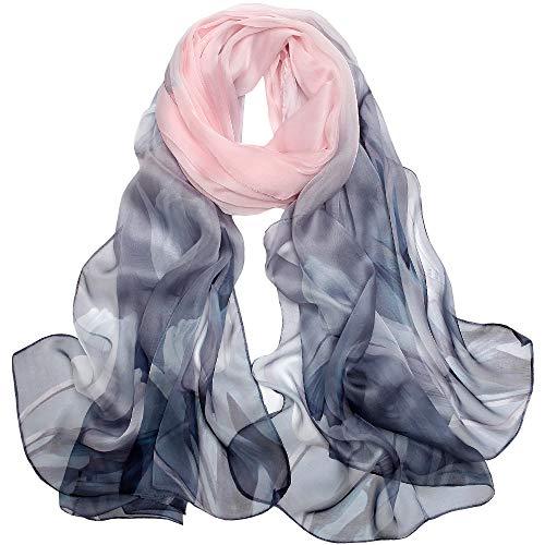 Seidenschal Damen Seidentuch 100% Seiden Schal Tuch Hautfreundlich Anti-Allergie 175 * 65cm (Graues Rosa) MEHRWEG