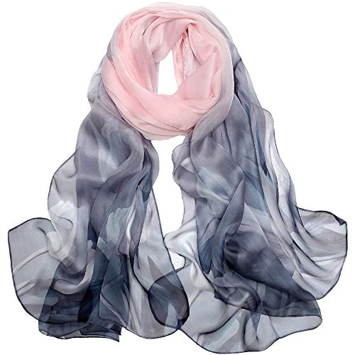 Ld foulard donna 100% seta sciarpa elegante affascinante ipoallergenico regalo l-175 * 65cm(rosa grigio)