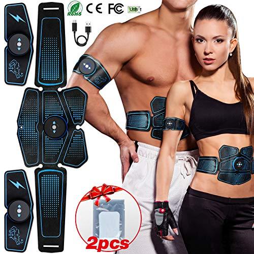 Popolic elettrostimolatore per addominali, elettrostimolatori abs stimolatore usb ricaricabile muscolare ems addominale trainer home gym gear per uomini donne (blu)
