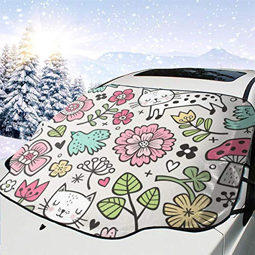 Preisvergleich Produktbild New Shorts Cats Birds U0026 Flowers Spring Doodle On Cloud Grey Car Front Windshield Cover Foldable Sunshade Fits Most Cars,  Trucks,  SUV's
