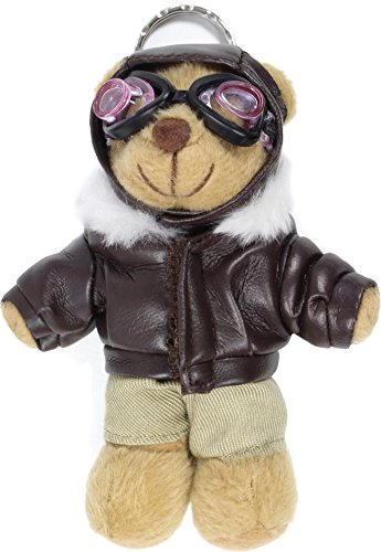 Preisvergleich Produktbild Schlüsselanhänger Teddy Pilot mit Lederjacke und Fliegerbrille 11 cm