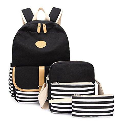 Tela zaino casual scuola zaini donna ragazza canvas backpack zainetto 3 in 1