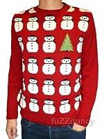 Mens & Womens Red Snowman Christmas Tree Novelty Festive Jumper xs s m l xl