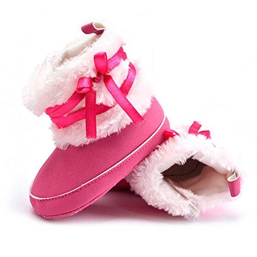 Infantis Criança 0 Sapatos Inverno Da De Quente Meses Rosa Branco 6 s Botas Prewalker Bebé 1xnd4qq