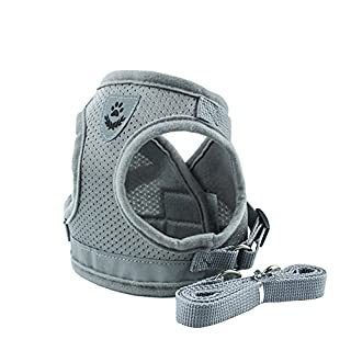 Awhao Pet Vest Dog's Leash Waistcoat-type Pet Belt Harness Leash Reflective Dog String for Dogs Cats (L, Gray)