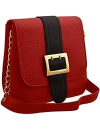 TAP FASHION Stylish Casual Fancy Elegant PU Leather Women's Handbag With Sling Belt (WSB-4632-100-STB, Red & Black)