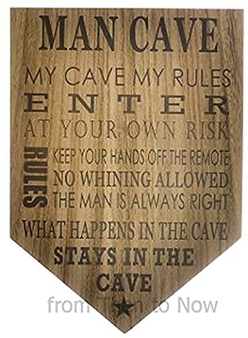 Large Male Dad Humour Man Cave Rules Wooden Plaque