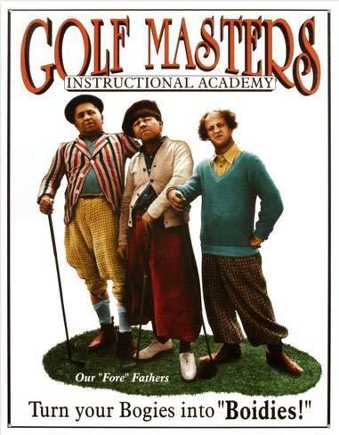 Harvesthouse Three Stooges Golf Masters 12 x 16 Metal Vintage Tin Sign Wall Decor