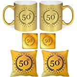 YaYa Cafe 50th Anniversary Gifts For Mom Dad, Celebrating Golden Jubilee Glitter Couple Mugs Gift Hamper Set Combo Of 6 (Golden Mug, Coaster, Golden Cushion Cover - 12 Inches)