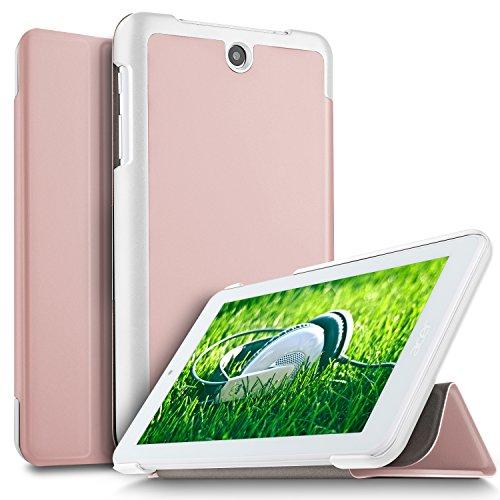 IVSO Acer ICONIA ONE 7 B1-7A0 Hülle, Ultra Schlank Ständer Slim Leder zubehör Schutzhülle perfekt geeignet für Acer ICONIA ONE 7 B1-7A0-K17V Tablet PC, RoseGold