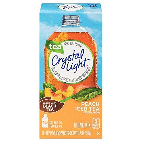 CRYSTAL LIGHT ICED TEA PEACH DRINK MIX ON THE GO 10 PACKET BOX AMERICAN