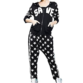 Aubig Fashion Damen Mädchen Kapuzenpullis und Haremshose Anzug, Hoodie + Pants Suit, Pumphose Pluderhose Aladinhose Baggyhose Hip Hop Tanzhose Bekleidung, PU Leder Patchwork Schwarz