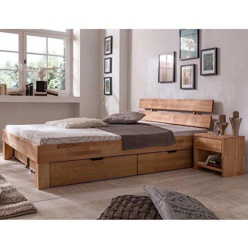 Eternity-Möbel Futonbett Schlafzimmerbett – SKARA – Kernbuche Buche geölt Bett inkl. 2 x Bettkasten Liegefläche 140 x 200 cm