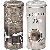 Promobo 2Vorratsdosen Hat Kapseln Messskala Senseo Kaffee Design Macchiato Latte Cappuccino