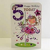 Jonny Javelin Girl Age 5 Birthday Card - Unicorn