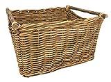 Mittelgroße rechteckige Kiste und Gehstock, aus Rattan, Korb für Holzscheite toys waschen oder Schuhe