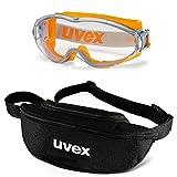 UVEX Vollsichtbrille ultrasonic 9302 - Set inkl. Textil-Etui - 9302285/9302245 - Vollsicht-Schutzbrillen mit klarer Scheibe, beschlagfrei, kratzfest, Farbe:orange-grau/klar