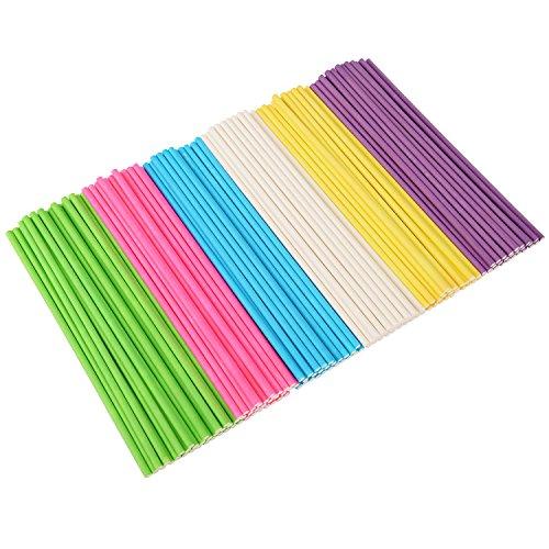 Lollipop Sticks Cake Pops Stiele für Weihnachten und Geburtstagsfeier, 6 Zoll, 150 Stück (Blau, Weiß, Purpurrot, Gelb, Rosafarben, Grün)
