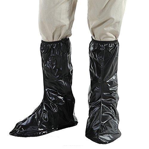 BeiLan Herren Schuhüberzug Schwarz Wasserdicht Anti-Rutsch Tragbar Überschuhe Regenstiefel mit Reißverschluss-Gummiband und reflektierende Ferse für Motorrad-Fahrrad-Reiten Gartenfeste XL EUR 43 (Ferse-gummi-stiefel)